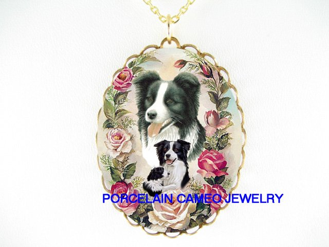 BORDER COLLIE DOG MOM CUDDLING PUPPY ROSE * CAMEO PORCELAIN NECKLACE