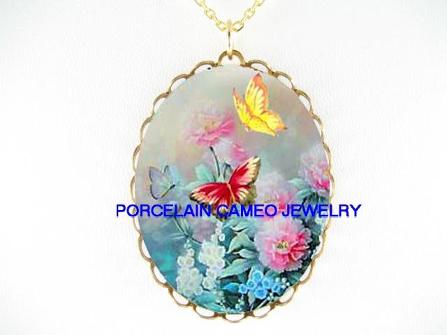 BUTTERFLY WITH ROSE BELL FLOWER* CAMEO PORCELAIN NECKLACE