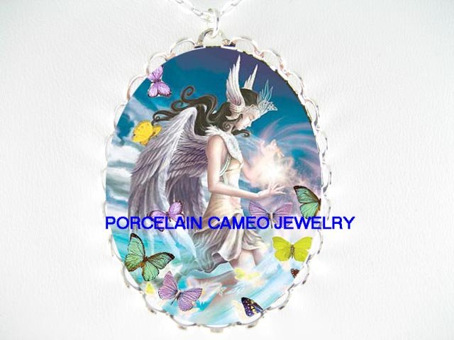 ANGEL BUTTERFLY FAIRY CAMEO PORCELAIN PENDANT NECKLACE