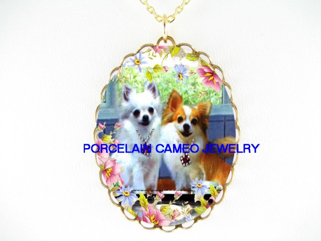 2 JEWELED WHITE LONG HAIR CHIHUAHUA DOG ROSE DAISY* CAMEO PORCELAIN NECKLACE