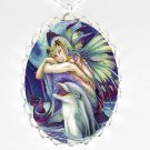 DOLPHIN MERMAID FAIRY PORCELAIN CAMEO PENDAT NECKLACE