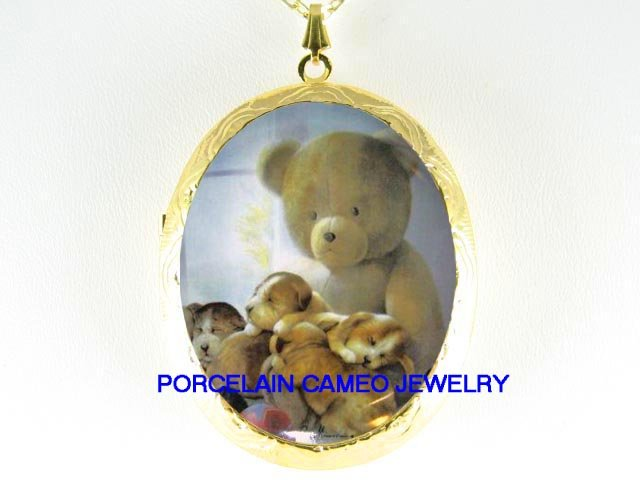 3 BEAGLE PUPPY DOG WITH TEDDY BEAR*  CAMEO PORCELAIN LOCKET NECKLACE