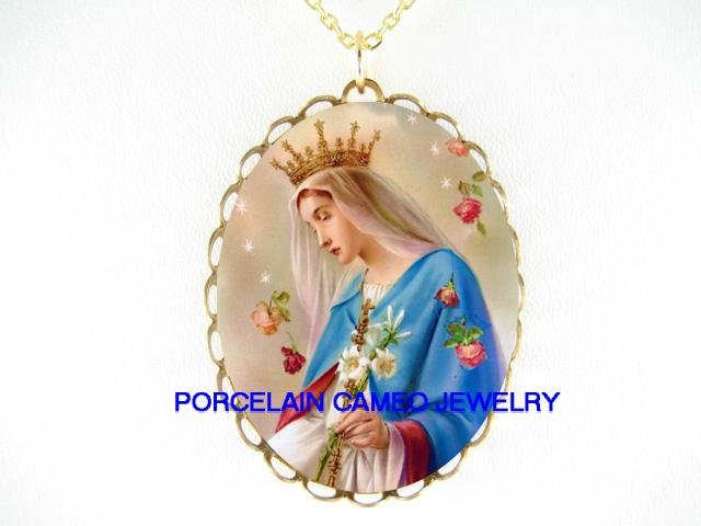 CATHOLIC CROWN VIRGIN MARY ROSE PORCELAIN CAMEO NECKLACE
