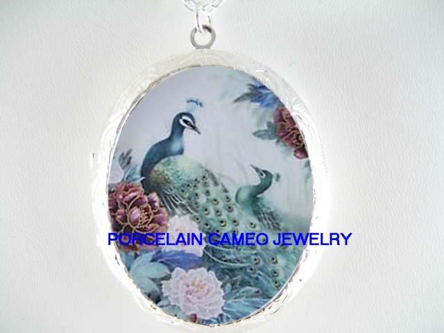 PEACOCK BIRD CHINESE PEONY CAMEO PORCELAIN LOCKET NK