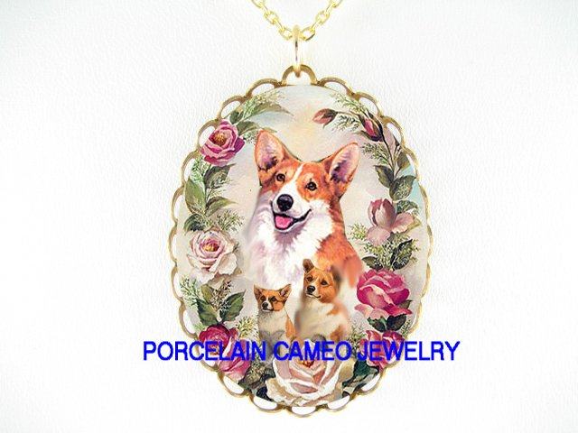3 CORGI DOG FAMILY MOM AND PUPPY ROSE* CAMEO PORCELAIN NECKLACE