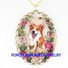 3 CORGI DOG FAMILY MOM AND PUPPY ROSE* CAMEO PORCELAIN NECKLACE