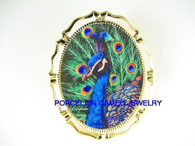 BLUE GOLDEN PEACOCK BIRD  CAMEO PORCELAIN PIN BROOCH