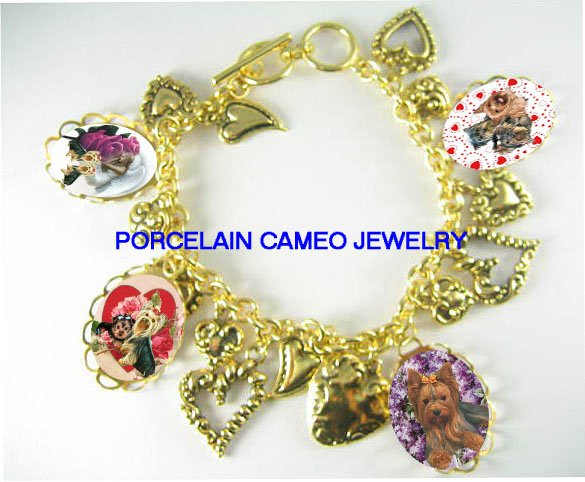 YORKSHIRE ANGEL ROSE VALENTINE LOVE HEART CHARM BRACELET