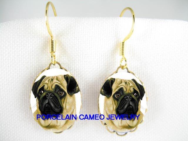 SWEET PUG DOG CAMEO PORCELAIN LIGHT WEIGHT EARRINGS