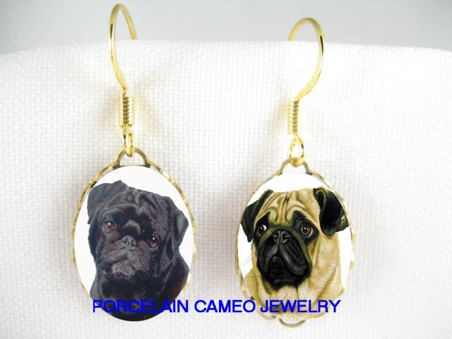 FAWN PUG BLACK PUG DOG CAMEO PORCELAIN LIGHT EARRINGS