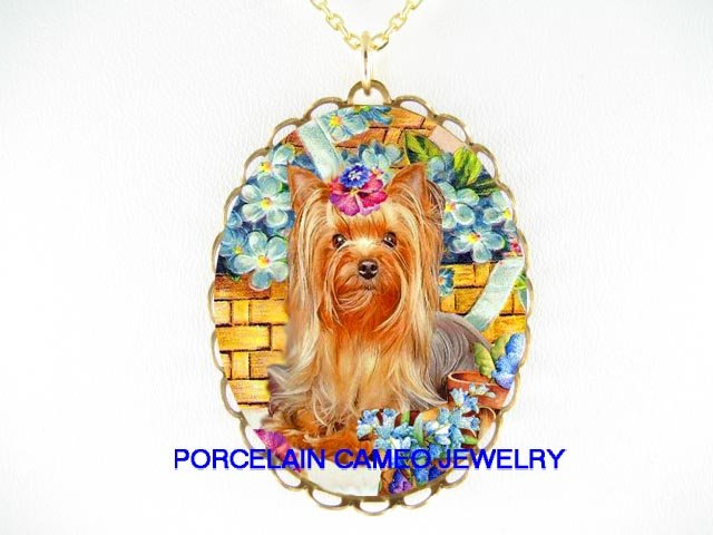 YORKSHIRE TERRIER DOG WITH PANSY FORGET ME NOT* CAMEO PORCELAIN NECKLACE