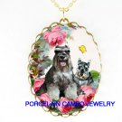 2 SCHNAUZER DOG MOM PUPPY BUTTERFLY ROSE CAMEO NECKLACE