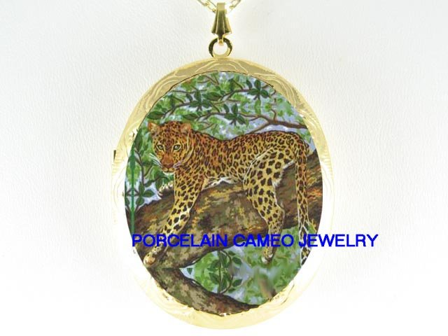 LEOPARD CAT IN TREE CAMEO PORCELAIN LOCKET NECKLACE