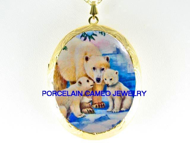 POLAR BEAR MOM KISS BABY CUB CAMEO PORCELAIN LOCKET NK