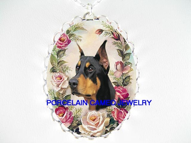 DOBERMAN PINSCHER WITH VICTORIAN ROSE * CAMEO PORCELAIN NECKLACE