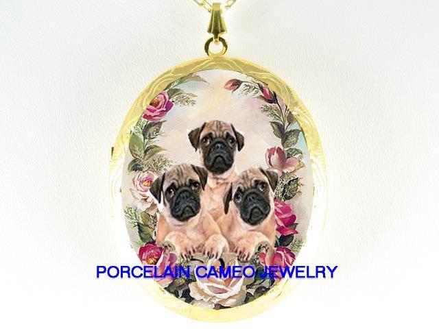 3 PUG PUPPY DOG VICTORIAN ROSE CAMEO PORCELAIN LOCKET