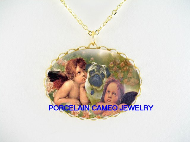 PUG DOG RAPHAEL 2 ANGEL CHERUB ROSE CAMEO PORCELAIN NECKLACE