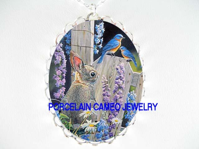 BUNNY RABBIT WITH 2  BLUE BIRD MOM BABY AND BELL FLOWER * CAMEO PORCELAIN NECKLACE