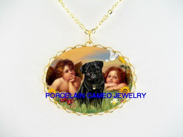 BLACK PUG DOG 2 RAPHAEL ANGEL CHERUB CAMEO NECKLACE