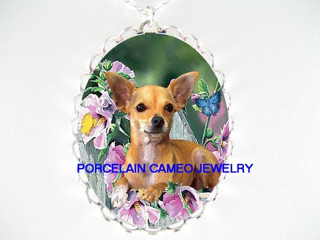 SMOOTH CHIHUAHUA DOG HIBISCUS BUTTERFLY CAMEO NECKLACE