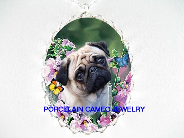 PUG DOG CHASING BUTTERFLY PURPLE HIBISCUSCAMEO NECKLACE