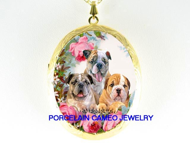 3 BULLDOG PUPPY ROSE GARDEN  * CAMEO PORCELAIN LOCKET NECKLACE