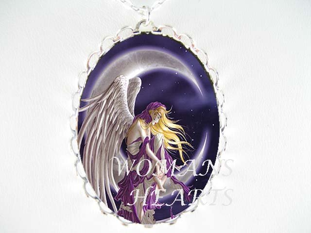 PURPLE ANGEL MOON FAIRY* CAMEO PORCELAIN NECKLACE