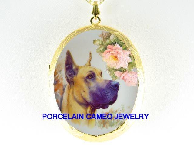 GREAT DANE DOG ROSE CAMEO PORCELAIN LOCKET NECKLACE