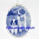 DANISH BLUE 2 SAINT BERNARD DOG MOM PUPPY* CAMEO PORCELAIN NECKLACE