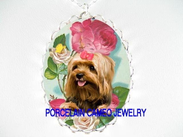 SMILING YORKSHIRE TERRIER DOG CHASING BUTTERFLY ROSE* CAMEO PORCELAIN NECKLACE