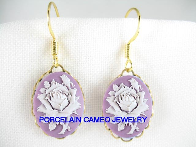 3D LAVENDER PURPLE WHITE VICTORIAN ENGLISH ROSE VINTAGE CAMEO EARRINGS