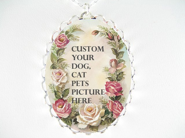 CUSTOM YOUR DOG, CAT PETS  WITH VICTORIAN ROSE CAMEO PORCELAIN NECKLACE