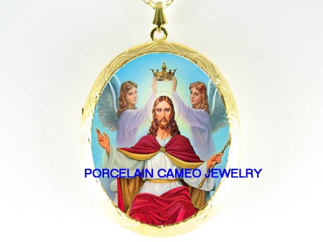 CROWN HOLY JESUS WITH ANGEL*  CAMEO PORCELAIN LOCKET NECKLACE