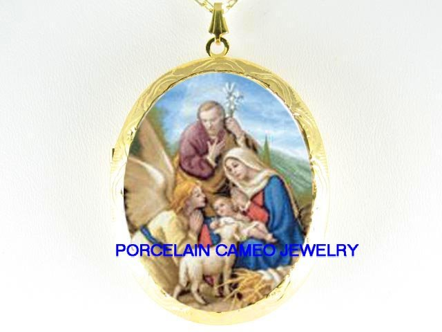 HOLY FAMILY JESUS ANGEL LAMB *  CAMEO PORCELAIN LOCKET NECKLACE