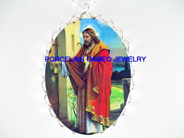 HOLY JESUS KNOCKING ON THE DOOR* CAMEO PORCELAIN NECKLACE