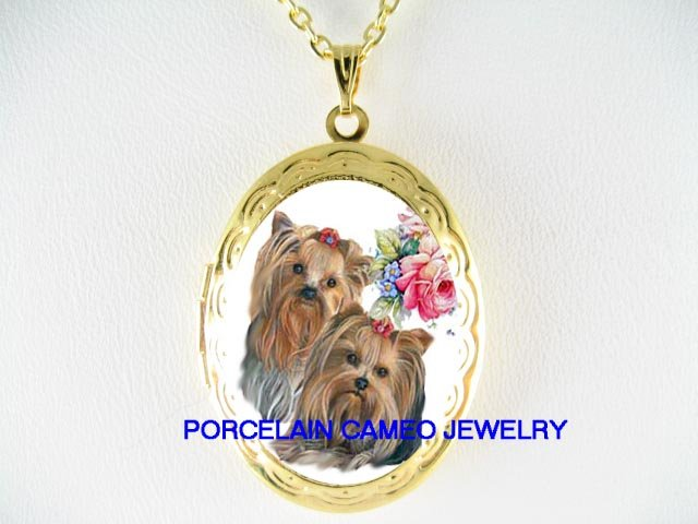 2 YORKSHIRE TERRIER DOG ROSE CAMEO SMALL LOCKET NECKLACE