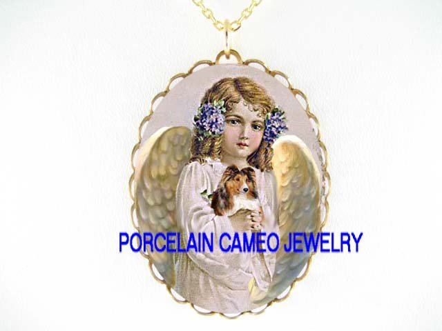 ANGEL HOLDING SHELTIE SHEEPDOG PORCELAIN CAMEO NECKLACE