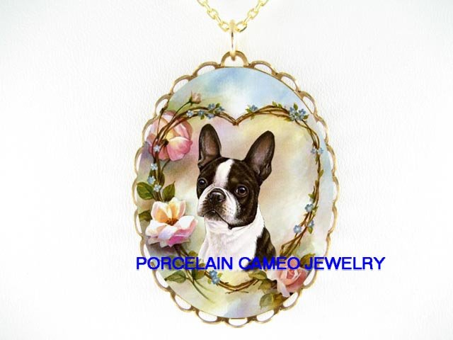 BOSTON TERRIER DOG ROSE HEART PORCELAIN CAMEO NECKLACE