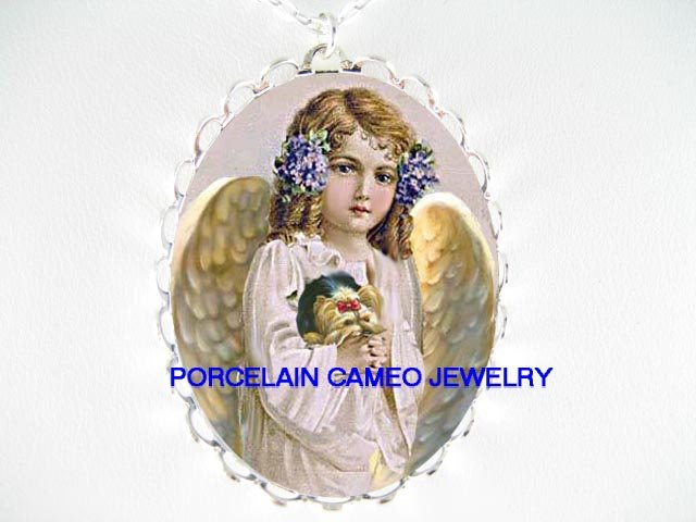 ANGEL HOLDING YORKSHIRE DOG CAMEO PORCELAIN NECKLACE