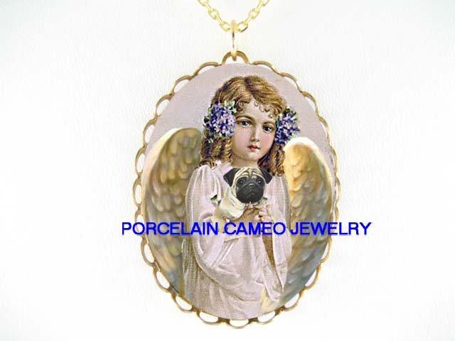 ANGEL HOLDING SWEET PUG DOG * CAMEO PORCELAIN NECKLACE