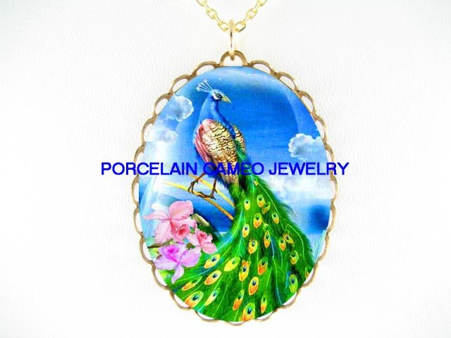 PEACOCK BIRD WITH PINK ORCHID CAMEO PORCELAIN NECKLACE