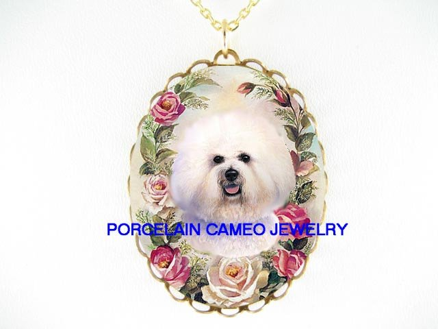 BICHON FRISE DOG VICTORIAN ROSE PORCELAIN CAMEO NECKLACE