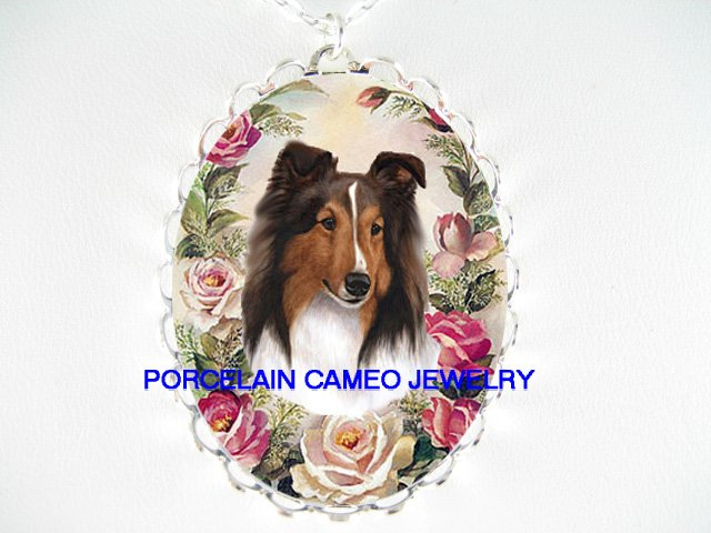 SHELTIE SHEEPDOG VICTORIAN ROSE * CAMEO PORCELAIN NECKLACE