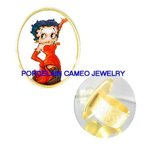 BETTY BOOP RED DRESS NET STOCKING PORCELAIN CAMEO RING 5-9