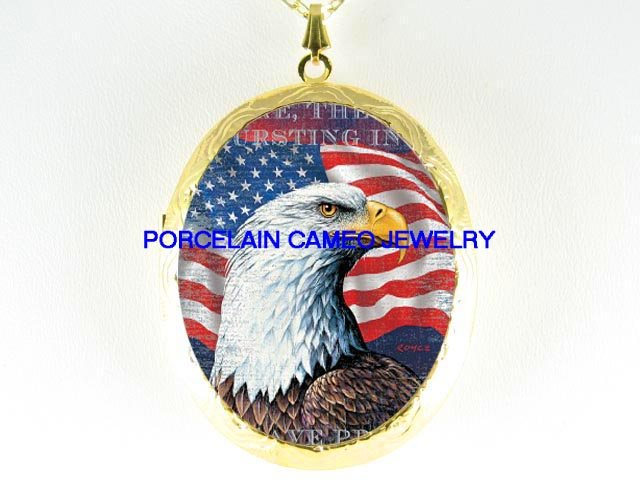 AMERICAN EAGLE FLAG CAMEO PORCELAIN LOCKET NECKLACE
