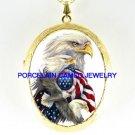 EAGLE COLLAGE AMERICAN FLAG CAMEO PORCELAIN LOCKET NECKLACE