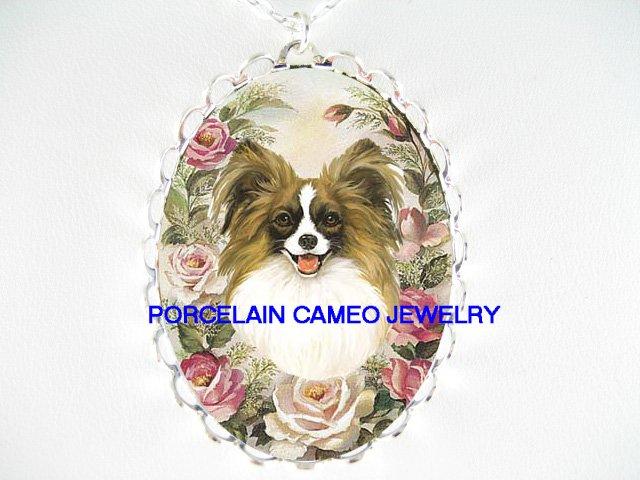 PAPILLON DOG VICTORIAN ROSE PORCELAIN CAMEO NECKLACE