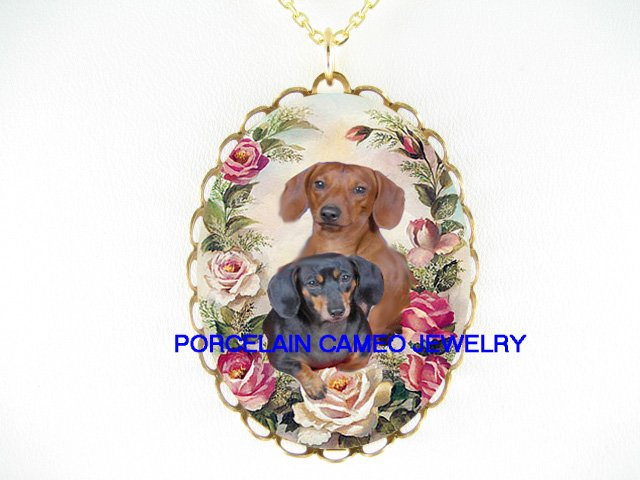 2 CUDDLING DACHSHUND DOG VICTORIAN ROSE  * CAMEO PORCELAIN NECKLACE