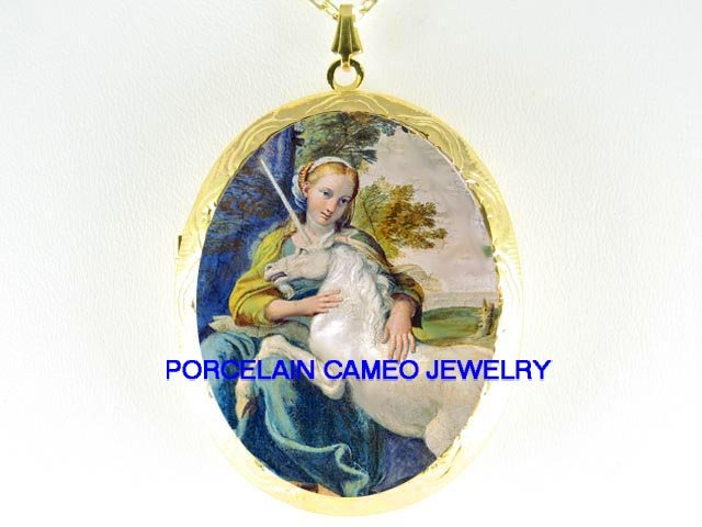 VICTORIAN YOUNG LADY CUDDLING WHITE UNICORN HORSE  *  CAMEO PORCELAIN LOCKET NECKLACE