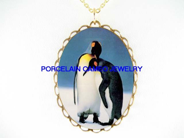 2 CUDDLING LOVING PENGUIN COUPLE CAMEO PORCELAIN NECKLACE